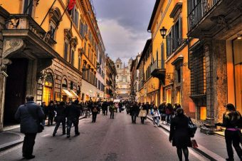 The Shopping streets in Rome